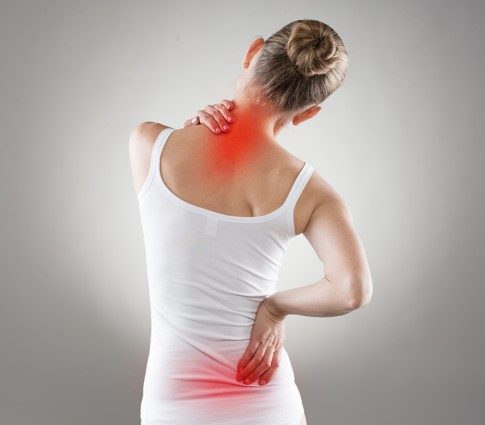 image of lady with neck and back pain spots
